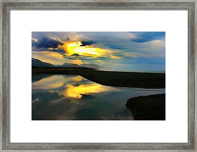 Framed Print featuring the photograph Tidal Pond Sunset New Zealand by Amanda Stadther