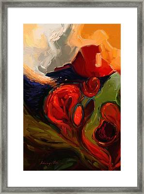 Tidal Wave - Fluid Red Gold Sage Green And Blue Abstract Print Framed Print by Kanayo Ede