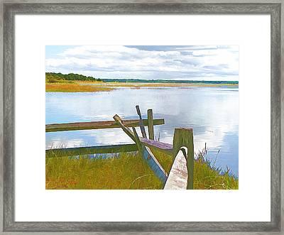 Tide And Fence Oil Framed Print