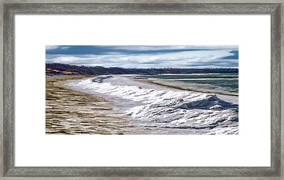 Framed Print featuring the photograph Tide Line Ice Photo Art by Constantine Gregory