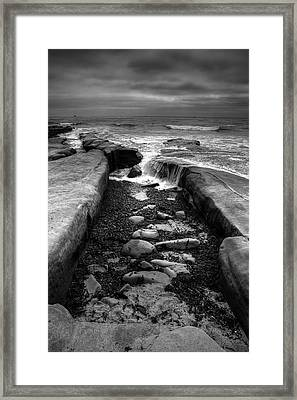 Tidepool Falls Black And White Framed Print by Peter Tellone