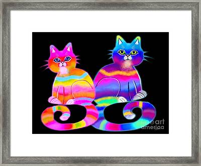Tie Dye Cats Framed Print by Nick Gustafson