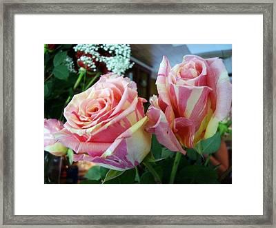 Tie Dye Roses Framed Print