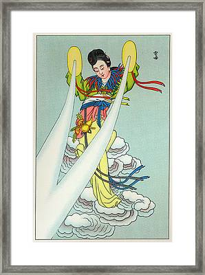 Tien-mou The Mother Of Lightning Framed Print by Mary Evans Picture Library