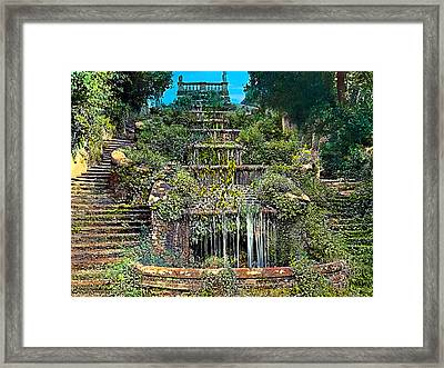 Tiered Waterfall Framed Print by Terry Reynoldson