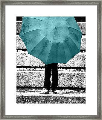 Tiffany Blue Umbrella Framed Print by Lisa Knechtel