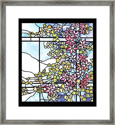 Stained Glass Tiffany Floral Skylight - Fenway Gate Framed Print by Donna Walsh