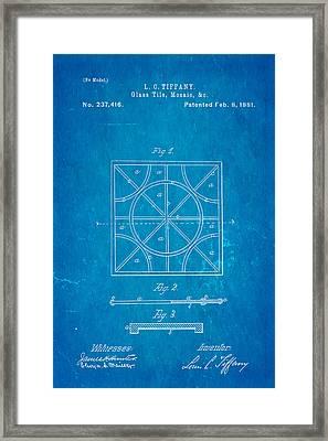 Tiffany Glass Patent Art 1881 Blueprint Framed Print by Ian Monk