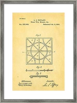 Tiffany Glass Patent Art 1881 Framed Print by Ian Monk
