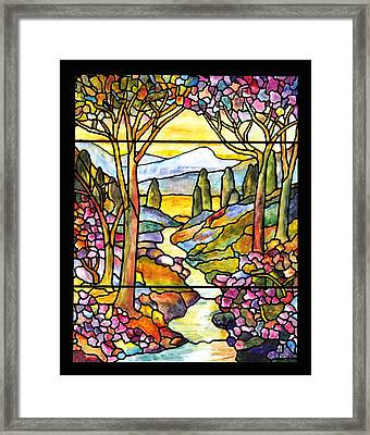 Tiffany Landscape Window Framed Print