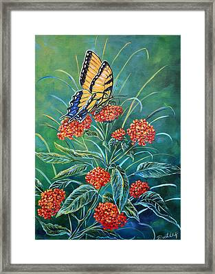 Tiger And Lantana Framed Print