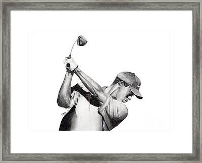 Tiger Backswing Framed Print by Devin Millington