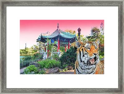 Tiger By A Chinese Pagoda Framed Print by Jim Fitzpatrick