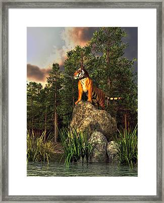 Tiger By The Lake Framed Print by Daniel Eskridge