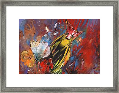 Tiger Cat In Flower Paradise Framed Print