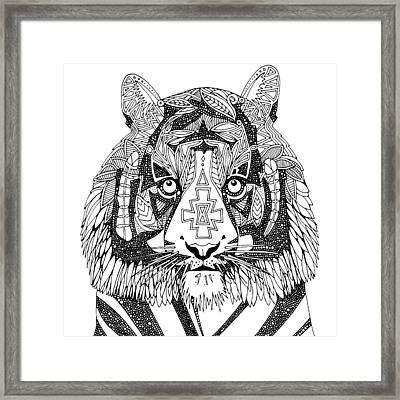 Tiger Chief Black White Framed Print by Sharon Turner