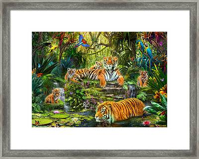 Tiger Family At The Pool Framed Print