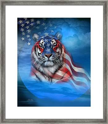 Tiger Flag Framed Print by Carol Cavalaris