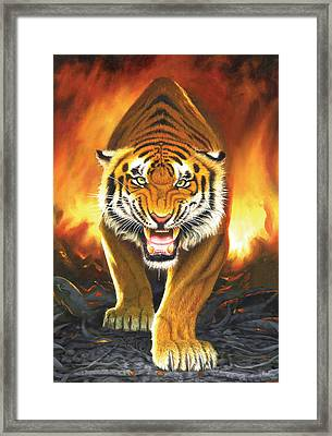 Tiger From The Embers Framed Print
