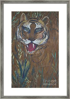 Tiger In Wood Framed Print