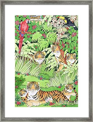 Tiger Jungle Framed Print by Suzanne Bailey