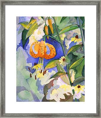 Tiger Lily In Dappled Light  Framed Print by Nancy Watson