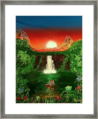 Framed Print featuring the painting Tiger  by Michael Rucker