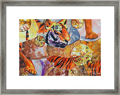 Framed Print featuring the painting Tiger Mosaic by Daniel Janda
