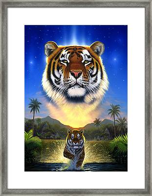 Tiger Of The Lake Framed Print