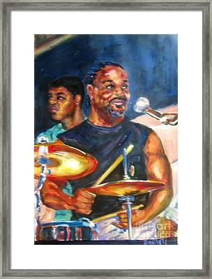 Tiger On Drums Framed Print