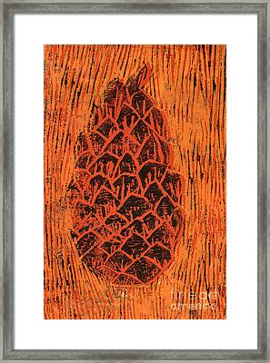 Tiger Pine Cone Framed Print by Amanda Elwell