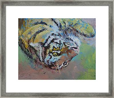 Tiger Play Framed Print by Michael Creese