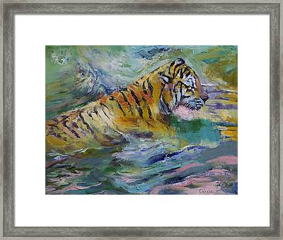 Tiger Reflections Framed Print by Michael Creese