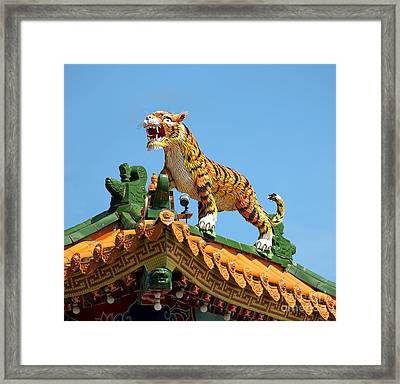 Tiger Sculpture Decorates Chinese Temple Roof Framed Print