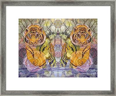 Framed Print featuring the painting Tiger Spirits In The Garden Of The Buddha by Joseph J Stevens