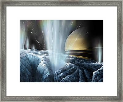 Tiger Stripes The Icy Jets Of Enceladus Framed Print