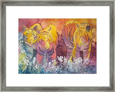Framed Print featuring the painting Tiger Trio by Nancy Jolley
