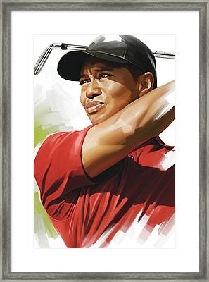 Tiger Woods Artwork Framed Print by Sheraz A