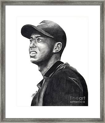 Tiger Woods Driven Framed Print by Devin Millington