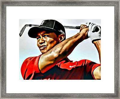 Tiger Woods Framed Print by Florian Rodarte