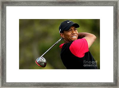 Tiger Woods Golf Framed Print by Lanjee Chee