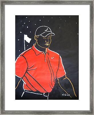Tiger Woods Hazeltine 2009 Framed Print by Lesley Giles