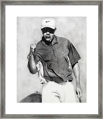 Tiger Woods Pumped Framed Print by Devin Millington