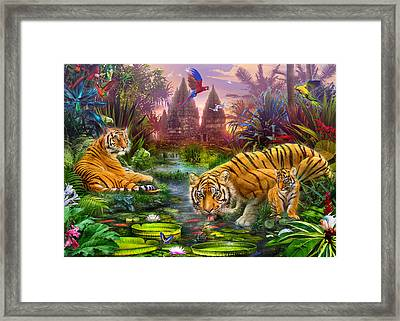 Tigers At The Ancient Stream Framed Print by Jan Patrik Krasny