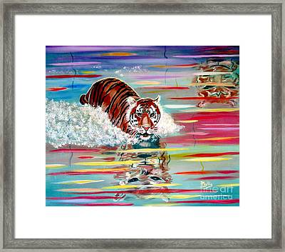 Framed Print featuring the painting Tigers Crossing by Phyllis Kaltenbach