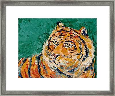 Tiger's Focus Framed Print by Kat Griffin