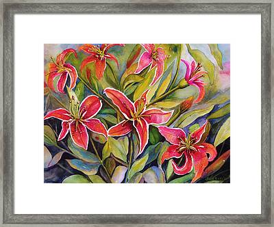 Tigers In My Garden Framed Print