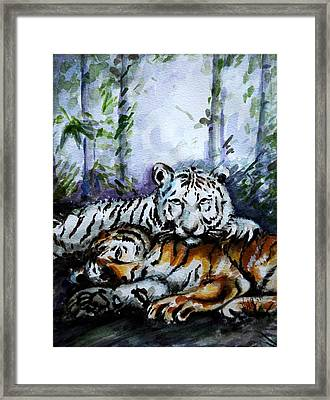 Framed Print featuring the painting Tigers-mother And Child by Harsh Malik