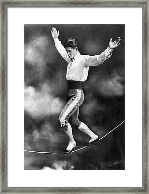 Tightrope Walker Con Colleano Framed Print by Underwood Archives