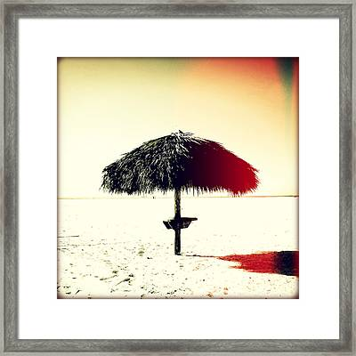 Tiki Alone Sunset Framed Print